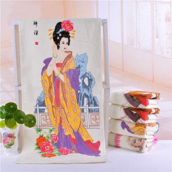 LT365 Creative Color Changing Cotton Chinese Ancient Beauty Yang Yuhuan Pattern Magic Temperature Control Towel Novelty Gift