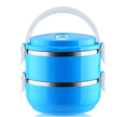 LZ 304 Stainless Steel Mulit Layer Lunch Box.Plastic Lunch Boxlunchbox Bento Lunch Box Food Container Student's Lunch Box (Doublelayer-Blue) - Intl