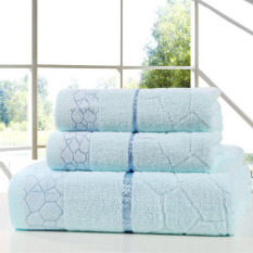 LZ 3Pcs / Set Water Cube Printed Bath Towel Sets For Adults Kids Solidbeach Towel Cotton Adult Bath Towels Bathrobe Hotel Supply (Blue) 34X75cm And 70X140cm - Intl