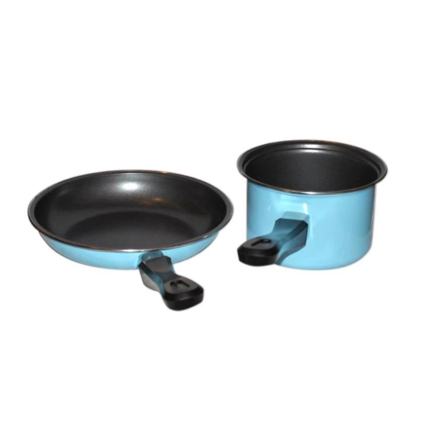 Maspion Pastela Set Panci Susu 14 cm + Fry pan 20 cm - Biru