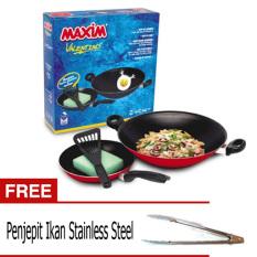 Maxim Wajan Frypan Valentino Set - 2 Pcs + Gratis Penjepit Gorengan Stainless Steel