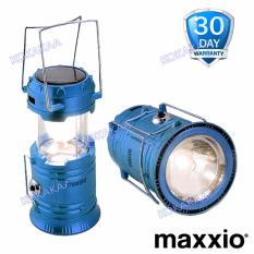 MaXxio 7700 Lampu Camping Solar Panel Led + SuperLed Flashlight - Biru