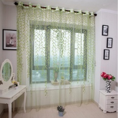 mayi Floral Tulle Voile Window Curtain Drapes Tulip Flower Voile Curtain Drape Panel Shade Curtain(Blue Tulip,100x200cm) - intl