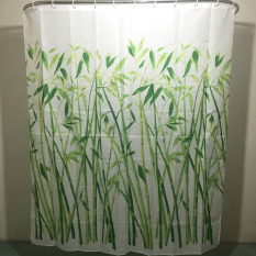 MC 180 X 180cm Bamboo Forest Waterproof Polyester Bathroom Shower Curtain With 12pcs Curtain Hooks Rings - Intl