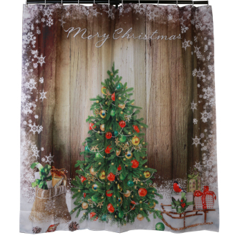 MC Fashion 3D Christmas Tree Presents Rustic Wood Fabric Shower Curtain Sleigh Snowflake Waterproof - Intl