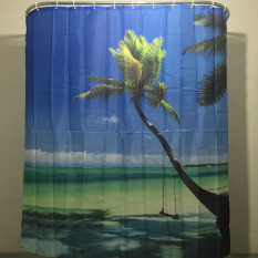 MC Shower Curtain Sea Sky Palm Scenery Bathroom Waterproof Polyester Bathroom Curtain With 12 Hooks - Intl