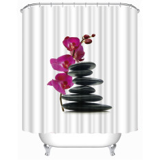 MC Stones Flower Shower Curtain Stylish Family Bathroom Shower Curtain Ring Pull Easy To Install (180 * 200cm) - Intl