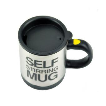 MEGA Automatic Stirring Mixing Coffee Tea Cup Gift Black Lazy Self Stirring Mug (Black And Silver) - Intl