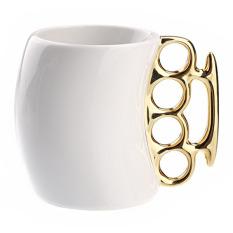 Metallic Handle Ceramic Fist Coffee Tea Milk Cup Mug Cup Golden / White