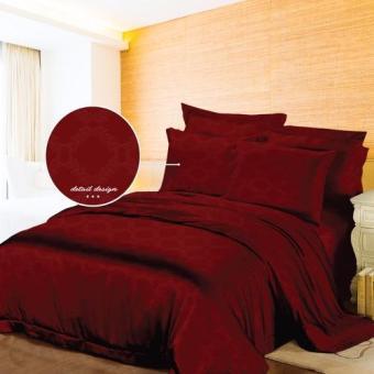 Monalisa Sprei Polos Jacquard Warna Merah Maroon 120x200