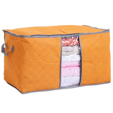 Moonar Foldable Transparent Window Compact Storage Bag For Clothing Quilt Orange