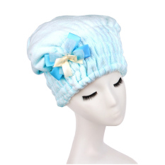 Moonar Quick Hair Drying Bath Spa Bowknot Wrap Towel Hat Cap Blue