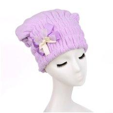 Moonar Quick Hair Drying Bath Spa Bowknot Wrap Towel Hat Cap Purple