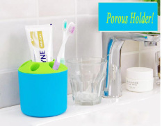 Multi-purpose Porous Brush Pot Toothbrush Toothpaste Holder Bathroom Cabinet Organizer Plastic Storage Stand For Travel And Home (Round Blue) - Intl
