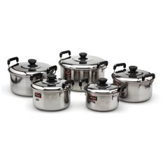 Nagako Cookware Set Panci - Dutch Oven - Stainless Steel - 5 Buah - Silver