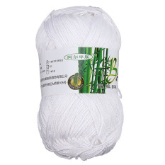 Natural Bamboo Cotton Knitting Soft Yarn Fingering Pure White (Intl)