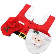 New 3Pcs Merry Christmas Decoration Santa Toilet Seat Cover & Rug Bathroom Set (Intl)