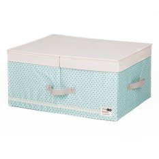 New Art Design Wommen' Fashion Cosmetic Clothing Storage Box Double Barrier Double Cover Beauty Case Boxes For Home 48*36*18cm (Light Blue)