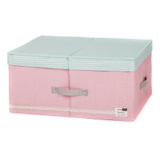 New Art Design Wommen' Fashion Cosmetic Clothing Storage Box Double Barrier Double Cover Beauty Case Boxes For Home 48*36*18cm (Pink)