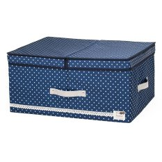 New Art Design Wommen' Fashion Cosmetic Clothing Storage Box Double Barrier Double Cover Beauty Case Boxes For Home -Blue 48x36x18cm (Intl)