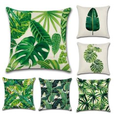 Newest Cotton Linen Africa Tropical Plant Banana Leaf Pillowcases Flowers Grass Decorative Cushion Cover Sofa Home Dᄄᆭcor Throw Pillow Case-Green Style 03 - intl