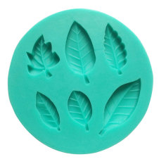 NiceEshop 6 Cavity Leaves Shape Fondant Silicone Cake Molds Decoration Baking Mould, Random Color (Intl)