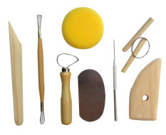 niceEshop Full Function Wood and Stainless Steal 8 Piece Pottery and Clay Modelling Tool Sculpture Set