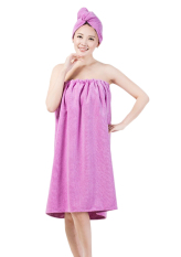 NICESHOP Women Bath Wrap Skirt Towel Robe Spa Bathrobe Set Adjustable Chest Microfiber Shower Cover Up Dressing Gown With Dry Hat (Purple) - Intl