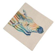Nordic Minimalist Style Rainbow Colors Fun Animals Cars Cotton Pillow Cover Sofa Cushion Office (Intl)