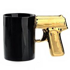 Novelty Handgun Pistol Shaped Ceramic Cup Coffee Mug Cup Black & Yellow (Intl)