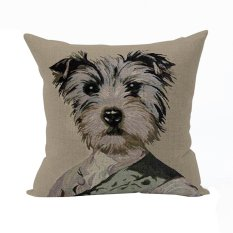 Nunubee Cotton Linen Animal Cushion Cover Home Pillowcase Soft Bed Square Pillowcover Khaki Dog