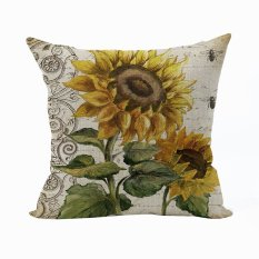 Nunubee Vintage Soft Decorative Cushion Cover Square Cotton Pillowcase Home Living Room Cushion Yellow 1 - Intl