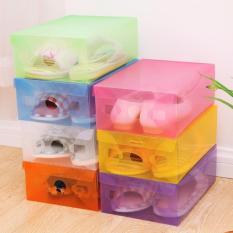 Paket 10 Buah - Kotak Sepatu Transparan Warna-Warni / Multicolour Transparent Shoe Box