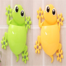 PAlight 2pcs Cartoon Gecko Bathroom Wall Sucker Toothbrush Holder (Yellow + Green)