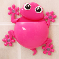 PAlight Cartoon Gecko Bathroom Wall Sucker Toothbrush Holder (Rose Red)