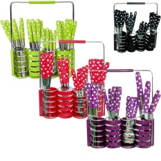 Paling Laku Sendok Set 24 Pcs Polkadot - Stainless Steel - MIX Color
