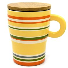 Personalized Colours Style Ceramic Cup Tea Milk Coffee Mug with Wooden Lid 320ml Ginger (Multicolor)