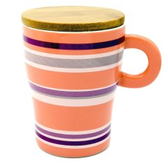 Personalized Colours Style Ceramic Cup Tea Milk Coffee Mug with Wooden Lid 320ml Pink