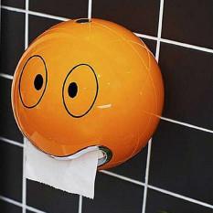 Plastic Roll Toilet Paper Holder Bathroom Paper Dispenser Storage Wall Dispenser Box WC REASON BIG EYES For Kitchen House Hotel Office (Orange)