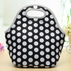 Portable Insulation Neoprene Diving Fabric Lunch Bag Outdoor Food Warm Container Black And White Dots - Intl