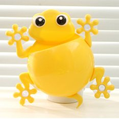 PP Cartoon Gecko Style Bathroom Wall Mounted Toothbrush Toothpaste Brush Holder Hanger With Suction Cup Yellow