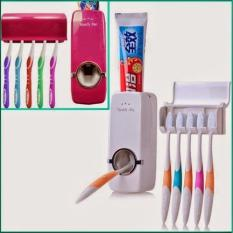 QuincyHome Dispenser Odol TouchMe Otomatis Toothbrush Holder Bundle - Putih