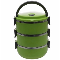 QuincyHome Lunch Box Stainless Steel - Rantang 3 Susun - green