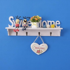 Rak Dinding Vintage Sweethome Dengan 4 Buah Hook Gantungan
