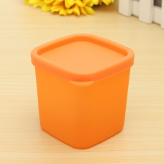 Refrigerator Crisper Sealed Transparent Plastic Box Kitchen Sorting Food Storage Box Dark Orange