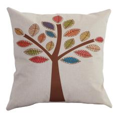 Retro Vintage Nature Pohon Sarung Bantal, Ulas, Sampul Bantal Kapas, Katun, Benang Kapas Linen Home Decor Cushion Cover (Intl)
