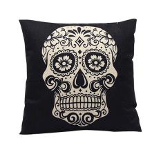 Retro Vintage Skull Linen Cotton Pillow Case Sofa Cushion Cover Home Decor Black