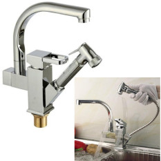Rising Bazaar 2 Spouts Kitchen Faucet Deck Mounted Pull Out Sink Mixer Tap - intl