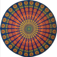 Round Beach Circle Beach Towel Serviette De Plage Towel Blanket Table Cloth Yoga Mat Reactive Printing (A) 150x150cm - Intl