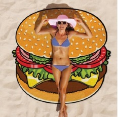 Round Hamburger Towel Beach Cover Ups Beach Towel Chiffon Swimsuit Sarongs Bathing Shawl Bath Towel Yoga Mat